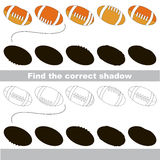 Find correct shadow for each object, the kid game. Balls set to find the correct shadow, the matching educational kid game to compare and connect objects and Stock Photos