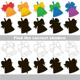 Find correct shadow for each object, the kid game. Bell with Bow set to find the correct shadow, the matching educational kid game to compare and connect Stock Photo