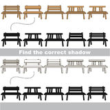 Find correct shadow for each object, the kid game. Benches set to find the correct shadow, the matching educational kid game to compare and connect objects and Stock Image