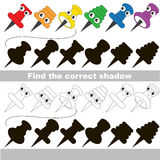 Find correct shadow for each object, the kid game. Colorful Pushpins set to find the correct shadow, the matching educational kid game to compare and connect Royalty Free Stock Photography
