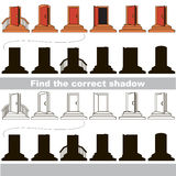 Find correct shadow for each object, the kid game. Entrance door set to find the correct shadow, the matching educational kid game to compare and connect Stock Photos