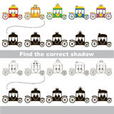 Find correct shadow for each object, the kid game. Funny Chariots set to find the correct shadow, the matching educational kid game to compare and connect Stock Image