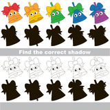 Find correct shadow for each object, the kid game. Funny Colorful Bells set to find the correct shadow, the matching educational kid game to compare and connect Royalty Free Stock Photography