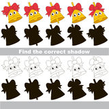 Find correct shadow for each object, the kid game. Funny Gold Bells set to find the correct shadow, the matching educational kid game to compare and connect Royalty Free Stock Photo