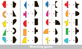 Find correct shadow for each object, the kid game. Geometric shapes set to find the correct shadow, the matching educational kid game to compare and connect Royalty Free Stock Photography