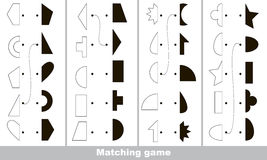 Find correct shadow for each object, the kid game. Geometric shapes set to find the correct shadow, the matching educational kid game to compare and connect Royalty Free Stock Photos
