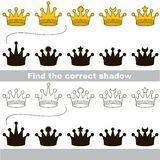 Find correct shadow for each object, the kid game. Gold Crown set to find the correct shadow, the matching educational kid game to compare and connect objects Royalty Free Stock Image