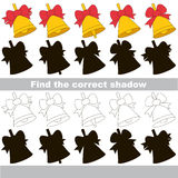 Find correct shadow for each object, the kid game. Golden Bell set to find the correct shadow, the matching educational kid game to compare and connect objects Royalty Free Stock Images