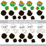 Find correct shadow for each object, the kid game. Hazelnuts set to find the correct shadow, the matching educational kid game to compare and connect objects Royalty Free Stock Photo
