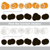 Find correct shadow for each object, the kid game. Orange set to find the correct shadow, the matching educational kid game to compare and connect objects and Royalty Free Stock Images