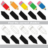Find correct shadow for each object, the kid game. Pencils set to find the correct shadow, the matching educational kid game to compare and connect objects and Royalty Free Stock Photos