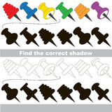 Find correct shadow for each object, the kid game. Pushpin set to find the correct shadow, the matching educational kid game to compare and connect objects and Royalty Free Stock Photos