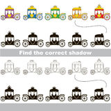 Find correct shadow for each object, the kid game. Rainbow Colorful Princess Chariots set to find the correct shadow, the matching educational kid game to Stock Image