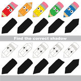 Find correct shadow for each object, the kid game. Rainbow Pencils Set to find the correct shadow, the matching educational kid game to compare and connect Stock Photos