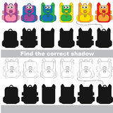 Find correct shadow for each object, the kid game. Rainow Backpack Set to find the correct shadow, the matching educational kid game to compare and connect Royalty Free Stock Photo
