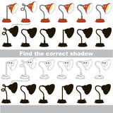 Find correct shadow for each object, the kid game. Red Table Lamp set to find the correct shadow, the matching educational kid game to compare and connect Stock Image