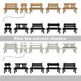 Find correct shadow for each object, the kid game. Wooden Benches set to find the correct shadow, the matching educational kid game to compare and connect Stock Images