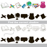 Find correct shadow for each object. School items set with shadows to find the correct one. Compare and connect objects and their true shadows. Easy educational Stock Photos