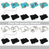 Find correct shadow for each object. Set of Appliques with shadows to find the correct one. Game to compare and connect objects and their true shadows, the Stock Photography