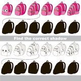 Find correct shadow for each object, the set game. Backpack set to find the correct shadow, the matching educational kid game to compare and connect objects and Royalty Free Stock Photos