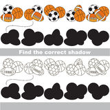 Find correct shadow for each object, the set game. Balls set to find the correct shadow, the matching educational game to compare and connect objects and their Royalty Free Stock Photo