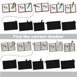 Find correct shadow for each object, the set game. Copybook set to find the correct shadow, the matching educational kid game to compare and connect objects and Stock Image