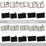 Find correct shadow for each object, the set game. Copybooks set to find the correct shadow, the matching educational game to compare and connect objects and Stock Photos