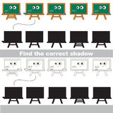 Find correct shadow for each object, the set game. Green Board set to find the correct shadow, the matching educational kid game to compare and connect objects Stock Photos