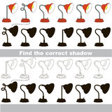 Find correct shadow for each object, the set game. Lamps set to find the correct shadow, the matching educational game to compare and connect objects and their Royalty Free Stock Image