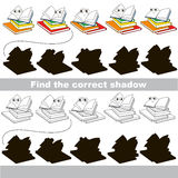 Find correct shadow for each object, the set game. Many Books set to find the correct shadow, the matching educational kid game to compare and connect objects Stock Photos