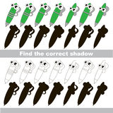 Find correct shadow for each object, the set game. Pen set to find the correct shadow, the matching educational kid game to compare and connect objects and Stock Photos