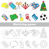 Find correct shadow for each object, the set game. School tolls set to find the pairs, the matching educational kid game to compare and connect objects and Stock Images