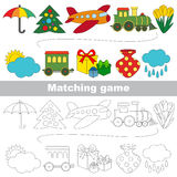 Find correct shadow for each object, the set game. Toy set to find the pairs, the matching educational kid game to compare and connect objects and their pairs Royalty Free Stock Images