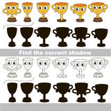 Find correct shadow for each object, the set game. Trophy cup set to find the correct shadow, the matching educational kid game to compare and connect objects Stock Photography