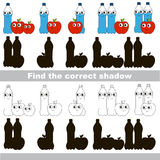 Find correct shadow for each object, the set game. Water and Apple set to find the correct shadow, the matching educational kid game to compare and connect Stock Photography