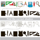 Find correct shadow for each object. Set of school janitor with shadows to find the correct one. Compare and connect objects and their true shadows. Easy Royalty Free Stock Photo