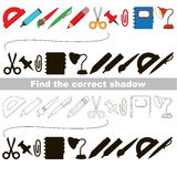 Find correct shadow for each object. Set of school tools with shadows to find the correct one. Compare and connect objects and their true shadows. Easy Stock Images