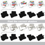 Find correct shadow for each object. Watercolors with shadows to find the correct one. Game to compare and connect objects and their true shadows, the Royalty Free Stock Image