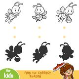 Find the correct shadow. Black and white set of bees. Find the correct shadow, education game for children. Black and white set of bees Royalty Free Stock Photo