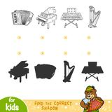 Find the correct shadow. Black and white set of musical instrume. Find the correct shadow, education game for children. Black and white set of musical Royalty Free Stock Photo