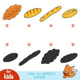 Find the correct shadow, education game. Cartoon bread set. Find the correct shadow, education game for children. Cartoon bread set - Braided loaf, Cheese bread royalty free illustration