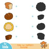 Find the correct shadow, education game. Cartoon bread set. Find the correct shadow, education game for children. Cartoon bread set vector illustration