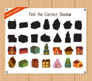 Find the correct shadow, education game for children - Christmas house.  Stock Photo