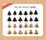 Find the correct shadow, education game for children - Christmas tree Royalty Free Stock Image