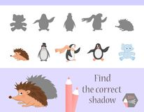 Find the correct shadow, education game for children. Cute Cartoon animals and Nature. vector illustration. stock illustration