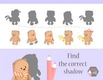 Find the correct shadow, education game for children. Cute Cartoon animals and Nature. vector illustration. bear.  Royalty Free Stock Photos