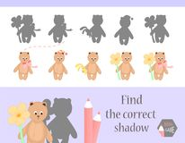 Find the correct shadow, education game for children. Cute Cartoon animals and Nature. vector illustration. bear.  Stock Image