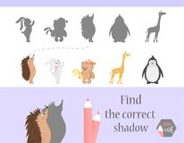 Find the correct shadow, education game for children. Cute Cartoon animals and Nature. vector illustration. bear, hare. Giraff, hedgehog Stock Photography