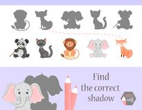 Find the correct shadow, education game for children. Cute Cartoon animals and Nature. vector illustration. cat, gift. Find the correct shadow, education game Royalty Free Stock Photos