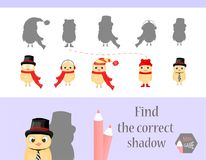Find the correct shadow, education game for children. Cute Cartoon animals and Nature. vector illustration. chicken.  Stock Image